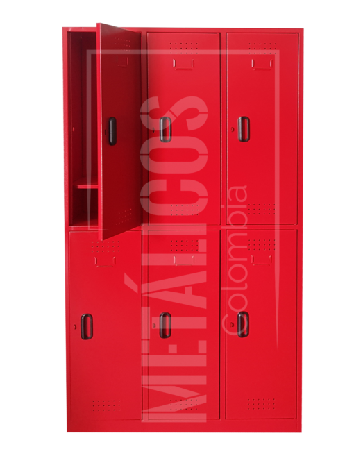 locker metálico de 6 puestos con pintura electrostática